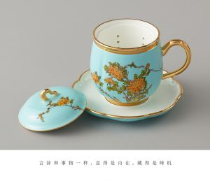 国瓷永丰源 夫人瓷  四件套茶杯陶瓷