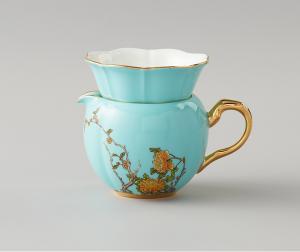 国瓷永丰源夫人瓷西湖蓝中国风陶瓷茶漏家用套装茶漏 滤茶器茶具