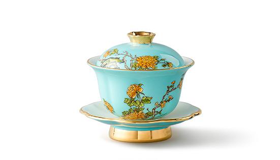 国瓷永丰源 夫人瓷3头盖碗 陶瓷功夫茶具盖杯 盖碗茶杯