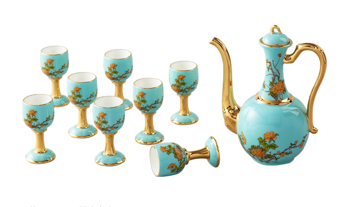 国瓷永丰源 夫人瓷 10头酒具白酒杯酒壶陶瓷酒壶套装中式仿古