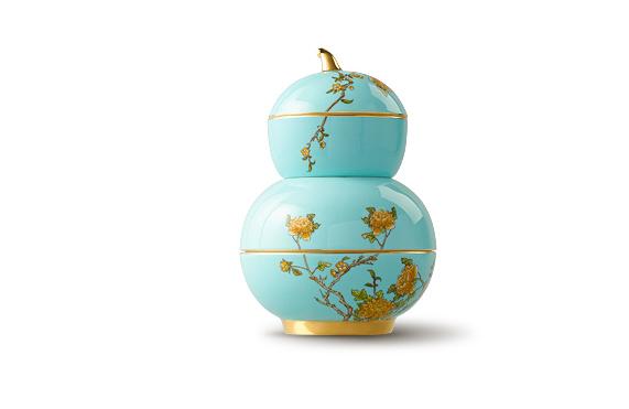 国瓷永丰源 夫人瓷 4头果盘 点心糕点小吃葫芦盘陶瓷四件套
